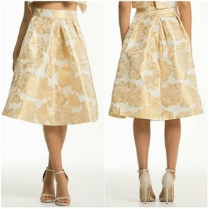 NWT CHI CHI LONDON Ashleigh Gold Floral Midi Skirt
